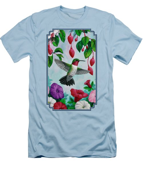 Hummingbird Greeting Card 2 Men's T-Shirt (Slim Fit) by Crista Forest