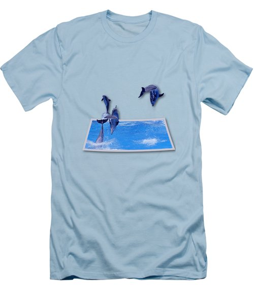 Leaping Dolphins Men's T-Shirt (Slim Fit) by Roger Wedegis