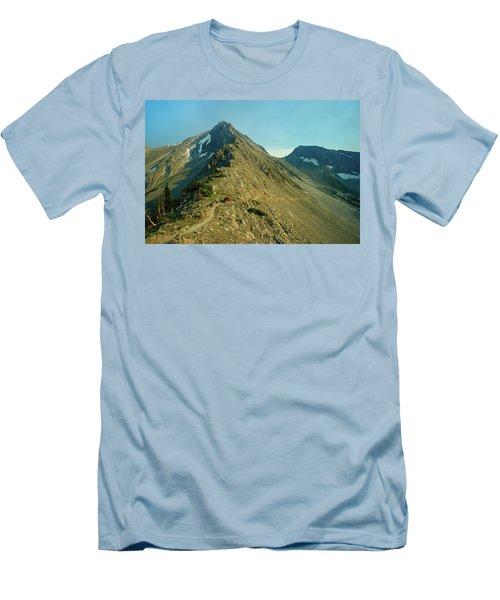 Llama Packer Hiking A Steep Rocky Mountain Peak Trail Men's T-Shirt (Slim Fit) by Jerry Voss