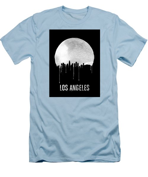 Los Angeles Skyline Black Men's T-Shirt (Slim Fit) by Naxart Studio