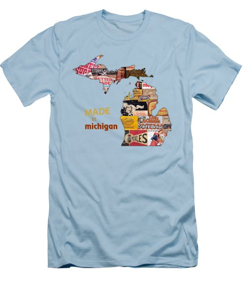 Made In Michigan Products Vintage Map On Wood Men's T-Shirt (Slim Fit) by Design Turnpike