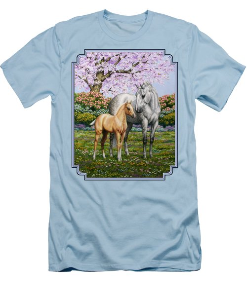 Mare And Foal Pillow Blue Men's T-Shirt (Slim Fit) by Crista Forest