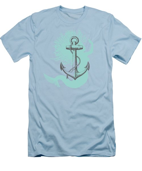 Mermaid And Anchor Men's T-Shirt (Slim Fit) by Sandra McGinley
