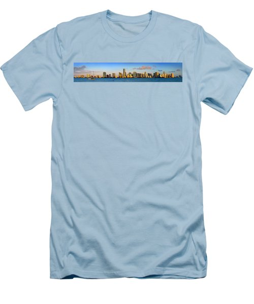 Miami Skyline In Morning Daytime Panorama Men's T-Shirt (Slim Fit) by Jon Holiday