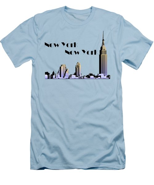 New York New York Skyline Retro 1930s Style Men's T-Shirt (Slim Fit) by Heidi De Leeuw