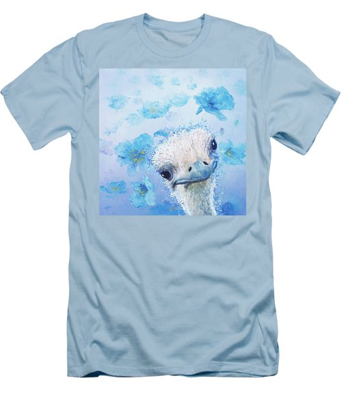 Ostrich In A Field Of Poppies Men's T-Shirt (Slim Fit) by Jan Matson