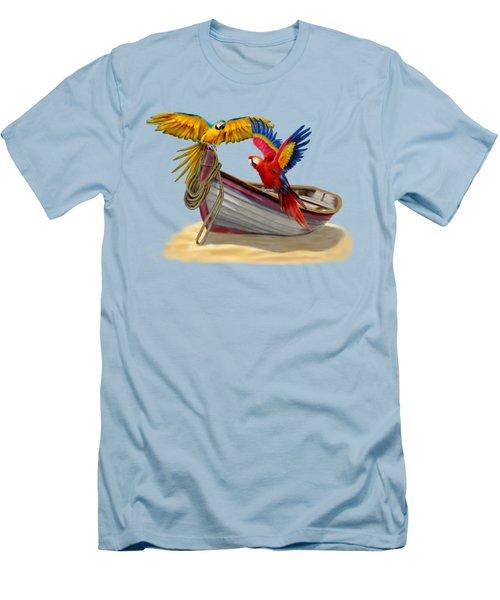 Parrots Of The Caribbean Men's T-Shirt (Slim Fit) by Glenn Holbrook