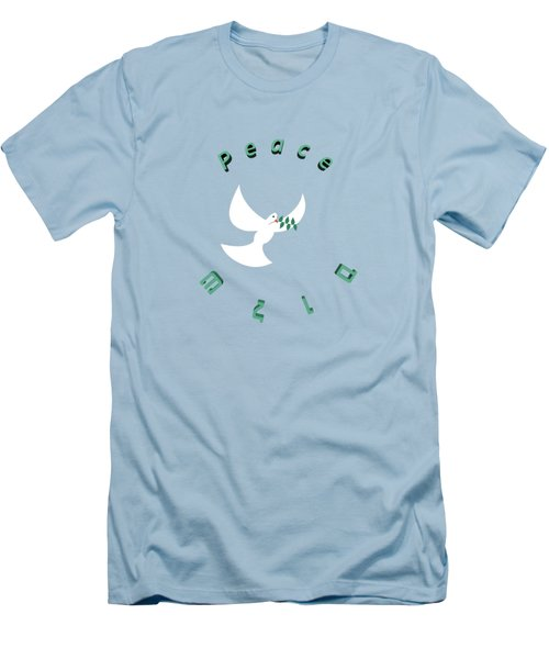 Peace In English And Hebrew With White Dove And Olive Leaf  Men's T-Shirt (Slim Fit) by Ilan Rosen