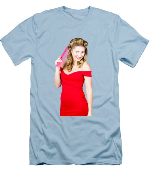 Pin-up Styled Fashion Model With Classic Hairstyle Men's T-Shirt (Slim Fit) by Jorgo Photography - Wall Art Gallery