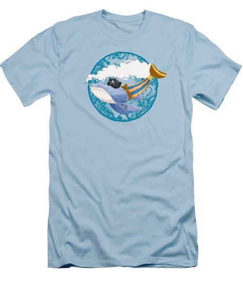Pirate Whale Men's T-Shirt (Slim Fit) by David Perez