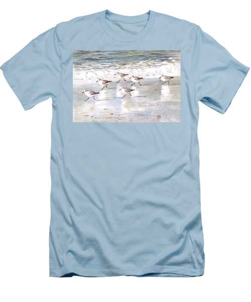Sandpipers On Siesta Key Men's T-Shirt (Slim Fit) by Shawn McLoughlin