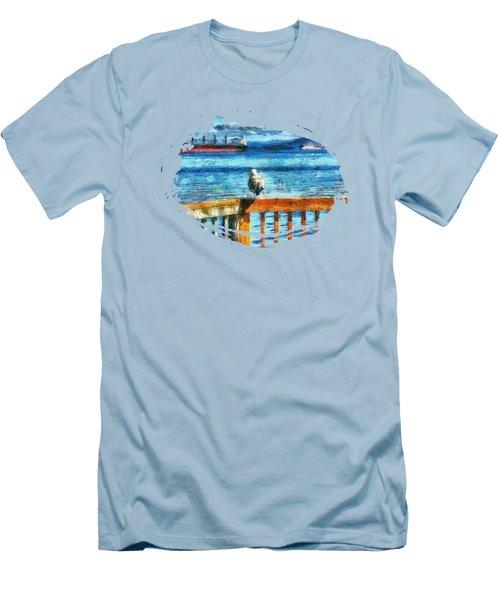 Seagull In Astoria  Men's T-Shirt (Slim Fit) by Thom Zehrfeld