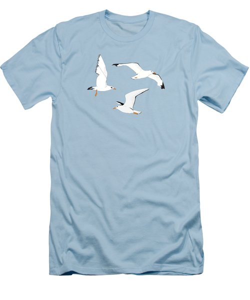 Seagulls Gathering At The Cricket Men's T-Shirt (Slim Fit) by Elizabeth Tuck