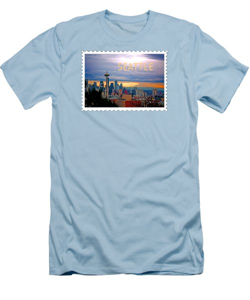Seattle At Sunset Text Seattle Men's T-Shirt (Slim Fit) by Elaine Plesser