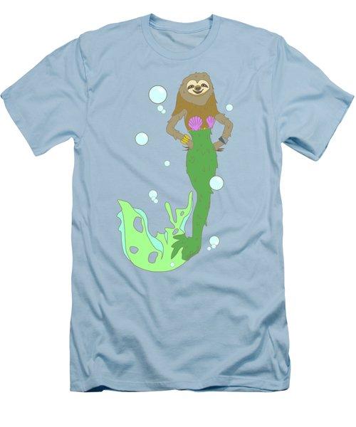Sloth Mermaid Men's T-Shirt (Slim Fit) by Notsniw Art