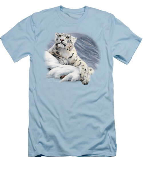 Snow Leopard Men's T-Shirt (Slim Fit) by Lucie Bilodeau