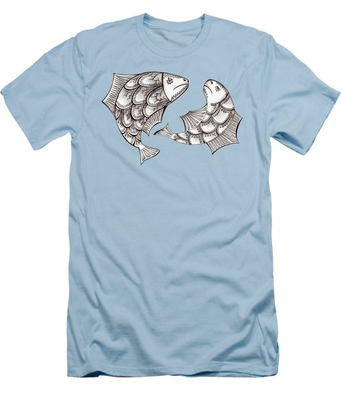 Two Ink Pen Graphic Hand Drawn Black And White Fish Men's T-Shirt (Slim Fit) by Victoria Yurkova