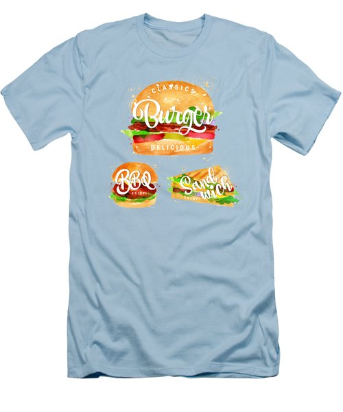 White Burger Men's T-Shirt (Slim Fit) by Aloke Design