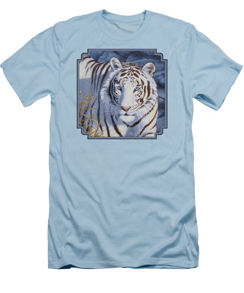 White Tiger - Crystal Eyes Men's T-Shirt (Slim Fit) by Crista Forest