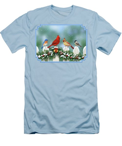 Winter Birds And Christmas Garland Men's T-Shirt (Slim Fit) by Crista Forest