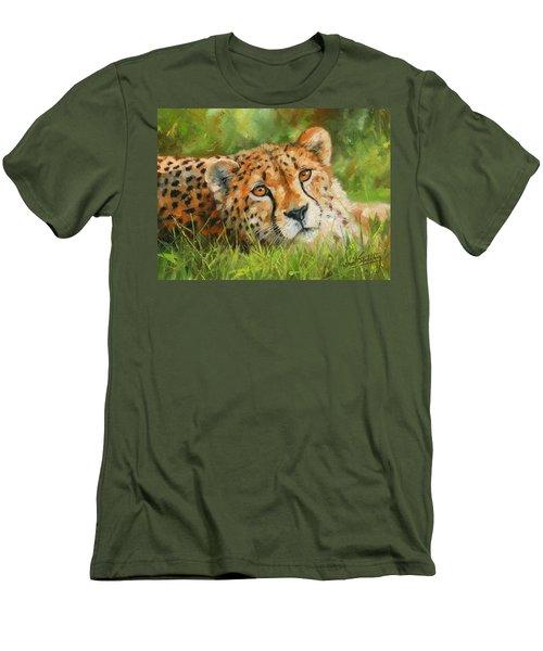 Cheetah Men's T-Shirt (Slim Fit) by David Stribbling
