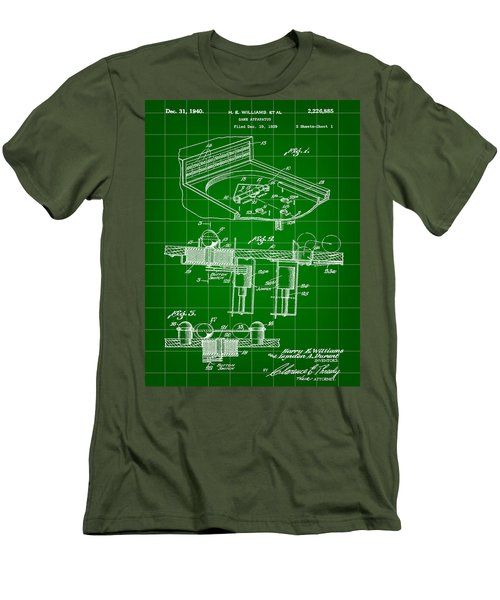 Pinball Machine Patent 1939 - Green Men's T-Shirt (Slim Fit) by Stephen Younts