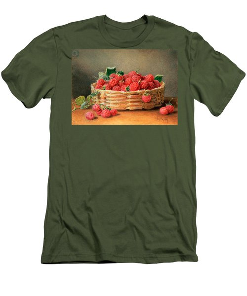 A Still Life Of Raspberries In A Wicker Basket  Men's T-Shirt (Slim Fit) by William B Hough