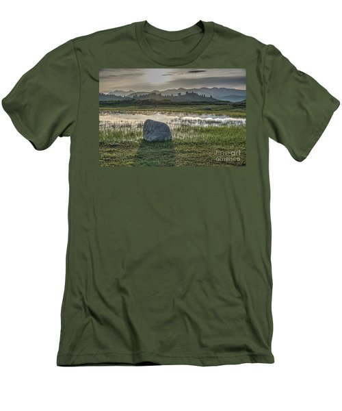Men's T-Shirt (Slim Fit) featuring the photograph A Yellowstone Sunrise And Hazy Morning Ridges by Bill Gabbert