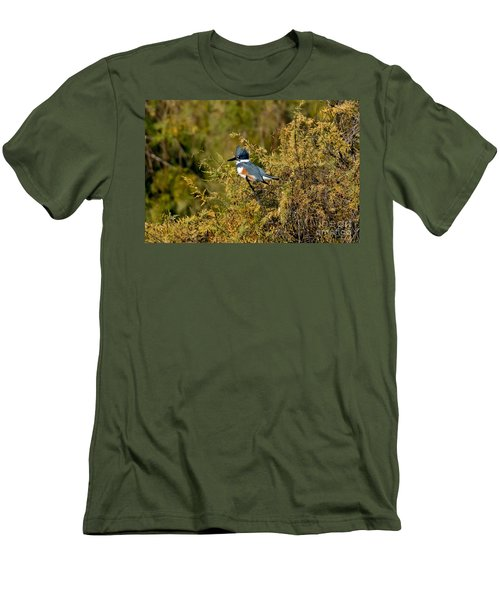 Belted Kingfisher Female Men's T-Shirt (Slim Fit) by Anthony Mercieca