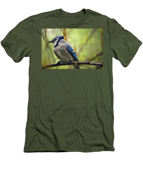 Blue Jay On A Misty Spring Day Men's T-Shirt (Slim Fit) by Lois Bryan