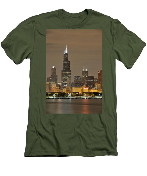 Chicago Skyline At Night Men's T-Shirt (Slim Fit) by Sebastian Musial