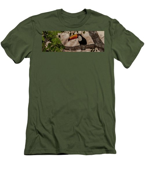Close-up Of Tocu Toucan Ramphastos Toco Men's T-Shirt (Slim Fit) by Panoramic Images