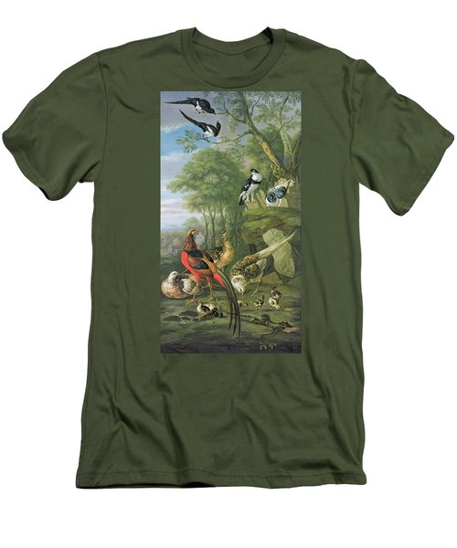 Cock Pheasant Hen Pheasant And Chicks And Other Birds In A Classical Landscape Men's T-Shirt (Slim Fit) by Pieter Casteels