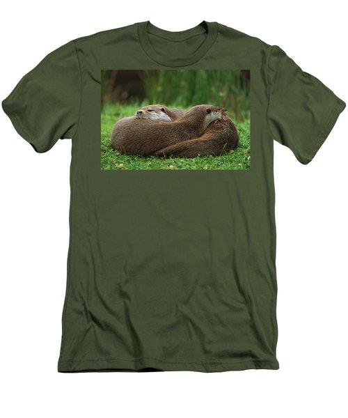 European River Otter Lutra Lutra Men's T-Shirt (Slim Fit) by Ingo Arndt