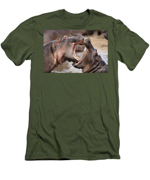 Fighting Hippos Men's T-Shirt (Slim Fit) by Richard Garvey-Williams