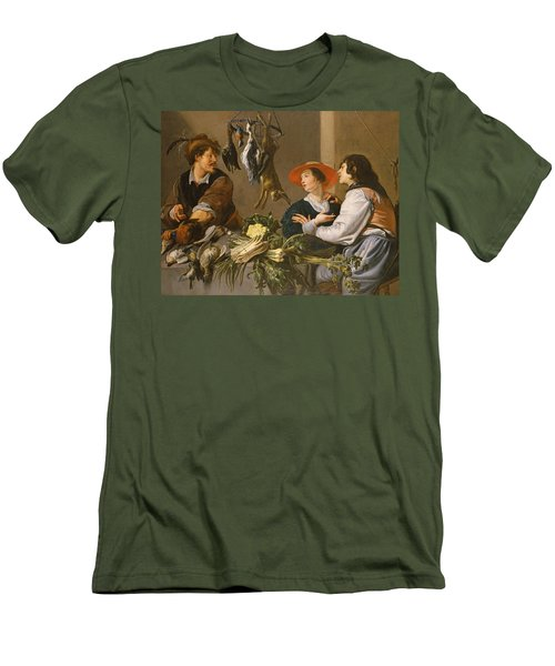 Game And Vegetable Sellers Oil On Canvas Men's T-Shirt (Slim Fit) by Theodor Rombouts