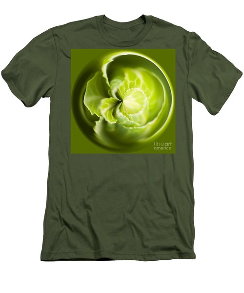 Green Cabbage Orb Men's T-Shirt (Slim Fit) by Anne Gilbert