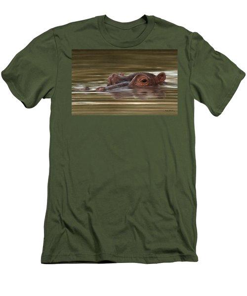 Hippo Painting Men's T-Shirt (Slim Fit) by Rachel Stribbling