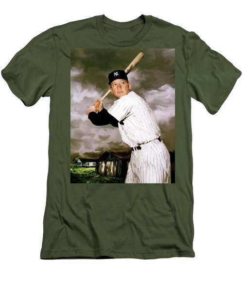 American Fabric   Mickey Mantle Men's T-Shirt (Slim Fit) by Iconic Images Art Gallery David Pucciarelli