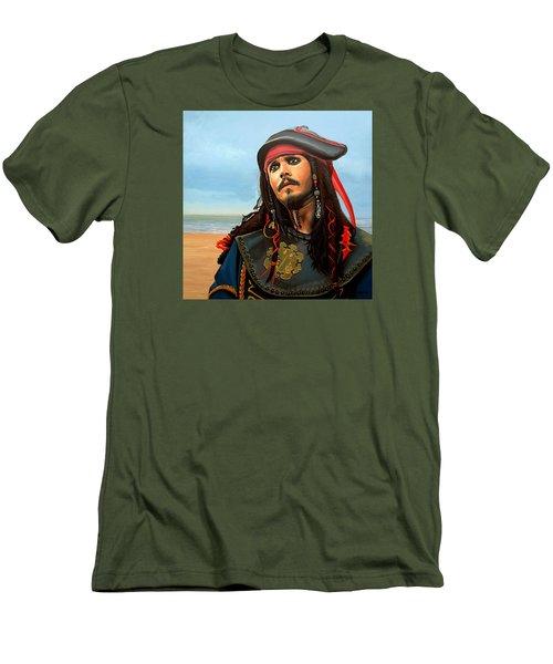 Johnny Depp As Jack Sparrow Men's T-Shirt (Slim Fit) by Paul Meijering