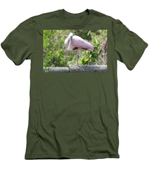 Light Pink Roseate Spoonbill Men's T-Shirt (Slim Fit) by Carol Groenen