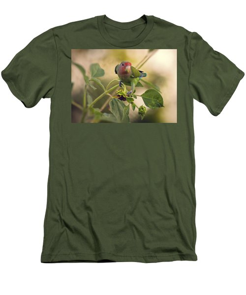 Lovebird On  Sunflower Branch  Men's T-Shirt (Slim Fit) by Saija  Lehtonen