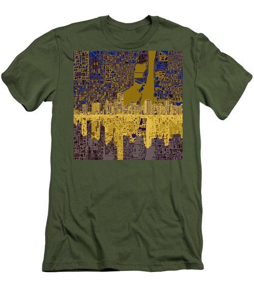 Miami Skyline Abstract 3 Men's T-Shirt (Slim Fit) by Bekim Art