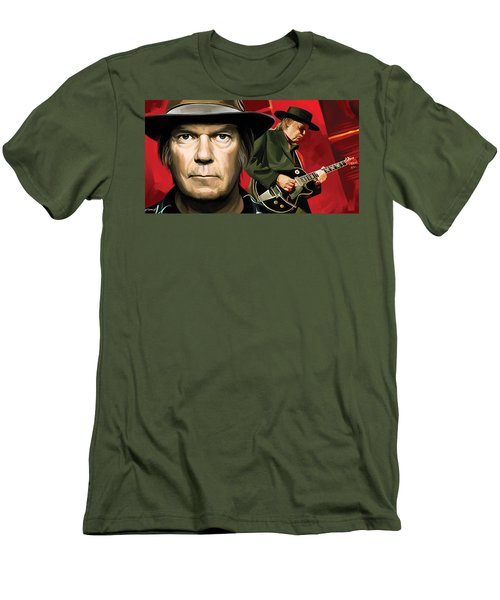 Neil Young Artwork Men's T-Shirt (Slim Fit) by Sheraz A