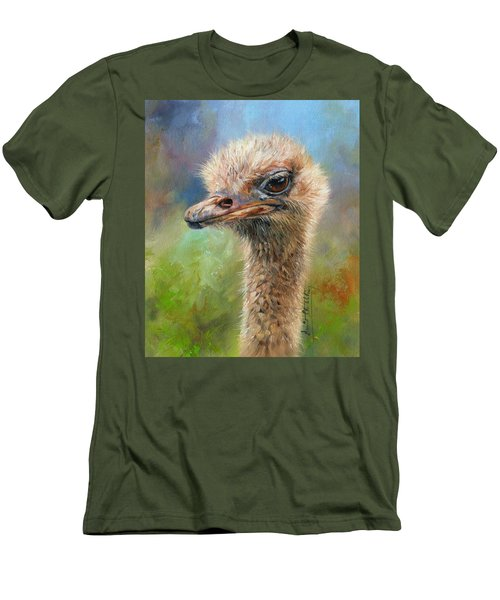 Ostrich Men's T-Shirt (Slim Fit) by David Stribbling