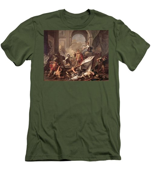 Perseus, Under The Protection Of Minerva, Turns Phineus To Stone By Brandishing The Head Of Medusa Men's T-Shirt (Slim Fit) by Jean-Marc Nattier