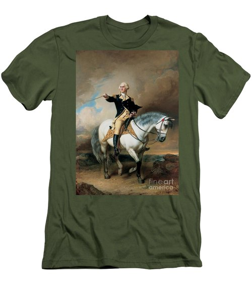 Portrait Of George Washington Taking The Salute At Trenton Men's T-Shirt (Slim Fit) by John Faed