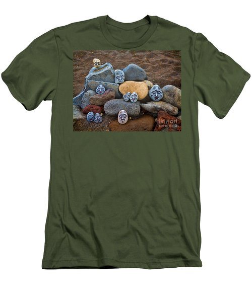 Rocky Faces In The Sand Men's T-Shirt (Slim Fit) by David Smith