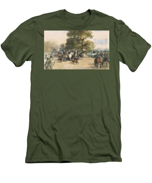 Scene In Hyde Park Men's T-Shirt (Slim Fit) by Eugene-Louis Lami