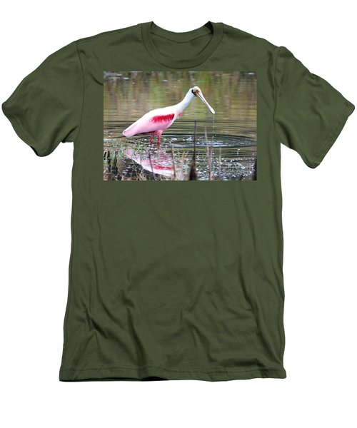 Spoonbill In The Pond Men's T-Shirt (Slim Fit) by Carol Groenen